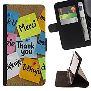 Momo Phone Case / Flip Funda de Cuero Case Cover - Gracias Idiomas;;;;;;;; - LG G4c Curve H522Y (G4 MINI), NOT FOR LG G4