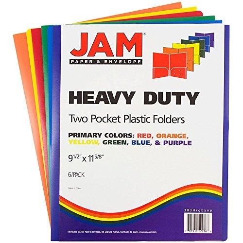 JAM Paper Plastic Heavy Duty Plastic 2 Pocket School Presentation Folders - Assorted Primary Colors - 6/pack by JAM Paper (Image #3)