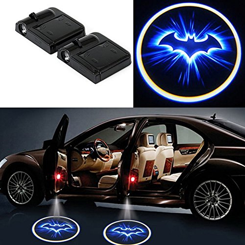 DELEIKA 2 x LED Car Door Welcome Light Laser Car Door LED Projector Logo Wireless Car Welcome Door Ghost Shadow Lights For - Batman Car Projector Door