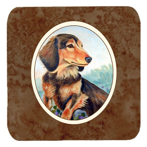 Caroline's Treasures 7023FC Long Hair Chocolate And Cream Dachshund Foam Coasters (Set of 4), 3.5