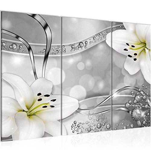 WHITE LILIE 3 BILDER LEINWAND 120x80 BLUMEN DEKO
