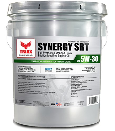 Triax API Licensed - EXTREME FULL SYNTHETIC ENGINE OIL WITH MOLY - 5W-30 SYNERGY SRT API SN - Friction Modified, Pre-Boosted for Viscosity Stability, Long Drain (5 GAL PAIL)