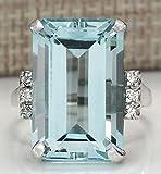 aquamarine ring sterling silver - Sumanee Vintage Women 925 Silver Aquamarine Gemstone Ring Wedding Jewelry Size 6-10 (10)