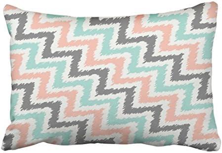 emvency Decor funda de almohada geométrico gris verde menta ...