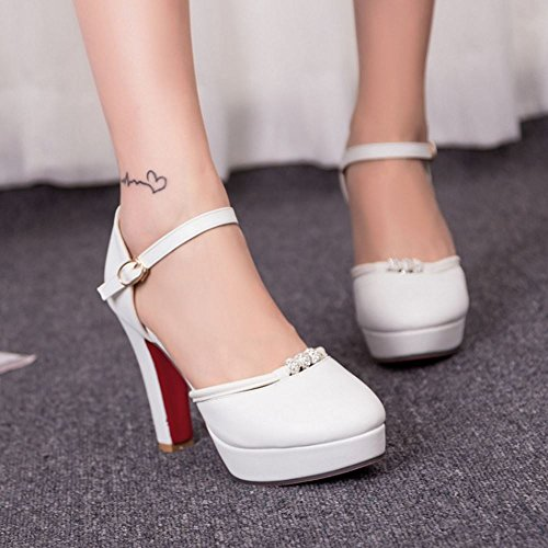 Plate Chunky Sandales TAOFFEN Forme Bout Rond Chaussures White Femmes wBn1SqH