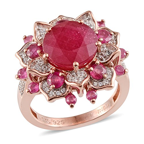 Zircon, Multi Gemstone Rose Gold Plated Silver Cluster Ring 7.2 cttw Size 7 (Gemstone Ring Cluster Multi)