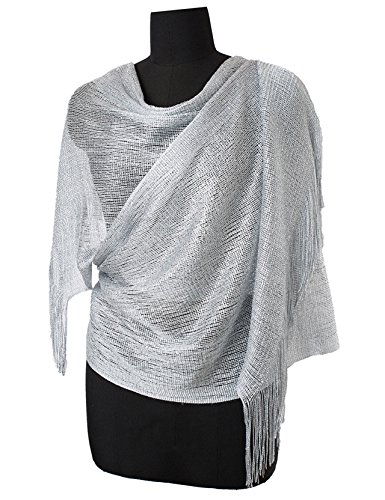 MissShorthair Womens Wedding Evening Wrap Shawl Glitter Metallic Prom Party Scarf with Fringe(Silver ()