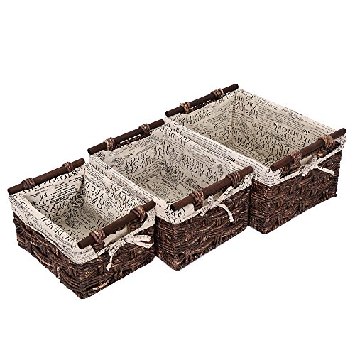 Wicker Decorative Organizing Baskets - Small, Medium, Large Text Design Baskets - 3 Piece Set