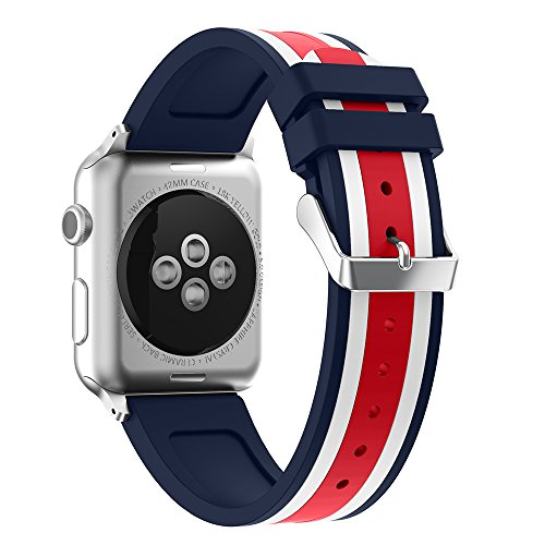 - SEMILU Soft Silicone Watch Band Compatible with Apple Watch Series 4 Series 3 Series 2 Series 1 Sport and Edition (42mm-Dark Blue/White/Red)