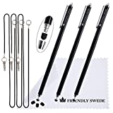The Friendly Swede Extra Long - Bundle of 3 Premium XXL Thin-Tip High Precision Universal Capacitive Stylus Pens 7.3'' + Extra 3 Replaceable Tips + 2 x 15'' Elastic Tether Lanyards + Cleaning Cloth in Retail Packaging (Black)