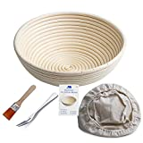 "Banneton Proofing Basket 10"" Round Banneton Brotform for Bread and 1000g Dough [FREE BRUSH] Proofing Rising Rattan Bowl + FREE LINER + FREE BREAD FORK"