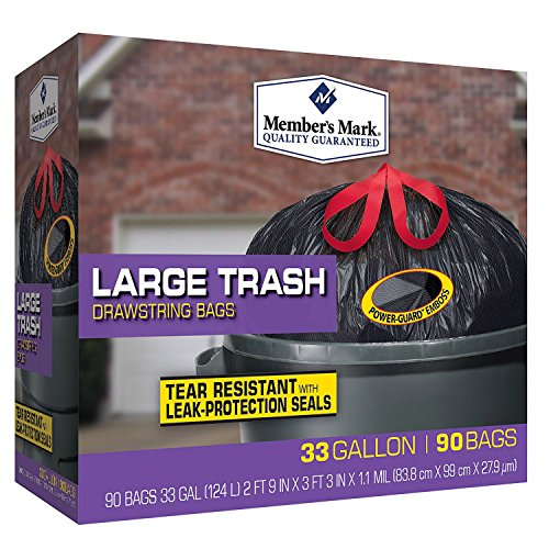 Member Mark 33 Gal. Power-guard Drawstring Trash, 90 Count