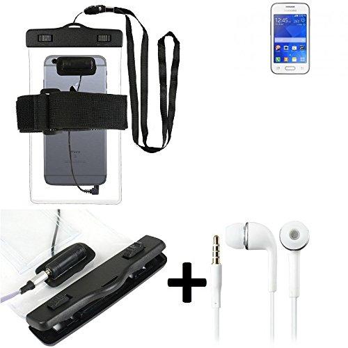 Estuche estanco al agua con entrada de auriculares para Samsung Galaxy Young 2 + auricular incluido, transparente | Trotar bolsa de playa al aire libre caja brazalete del teléfono caso de cáscara bajo