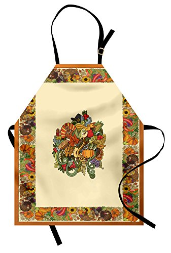 Ambesonne Thanksgiving Apron, Pumpkin Wreath Bow Cranberry Leaves Ivy Corn Basket Traditional Pattern Fall, Unisex Kitchen Bib Apron with Adjustable Neck for Cooking Baking Gardening, Multicolor - Fall Leaf Basket