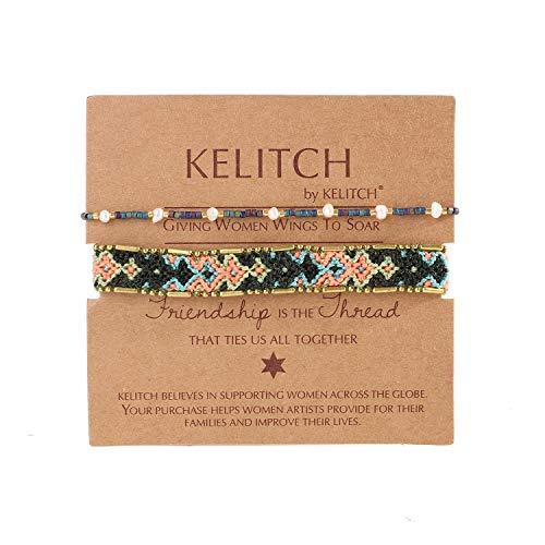 KELITCH 2PCS Colourful Strands Bracelets Bohemian Friendship Shell Pearl Beaded Bracelets Fashion Jewelry (Blue Green E)