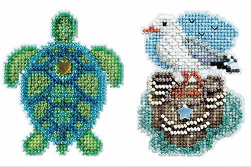 - 2 Kit Bundle, Counted Glass Beads : Sea Turtle and Seagull
