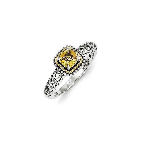 e6874895158d Ley Citrino Antiguo Estilo Plata con anillo de oro 14 K  Amazon.es  Joyería