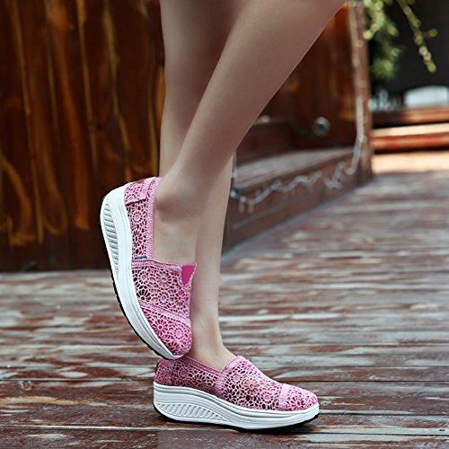 Ausom Kvinners Hekle Pustende Slip-on Plattform Kiler Toning Sko Walking Fitness Trene Sneaker Rosa