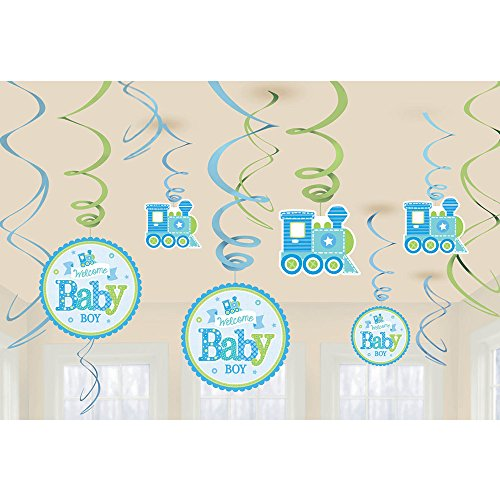 Amscan Welcome Baby Boy Shower Hanging Swirl Decorations.