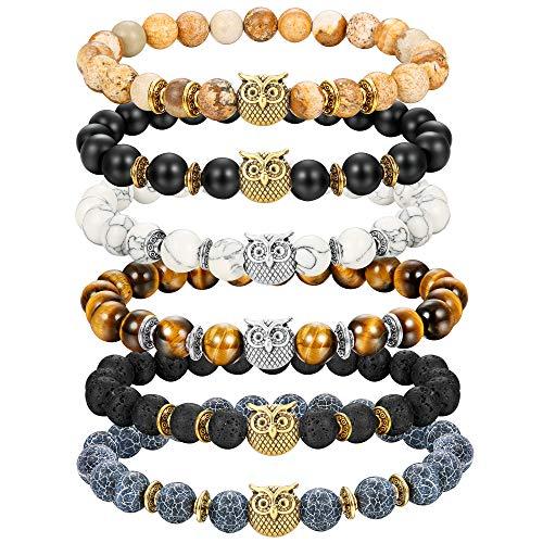 Jstyle 8mm Bead Bracelets Set for Women Mens Owl Charm Natural Lava Rock Stone Elastic Bracelet