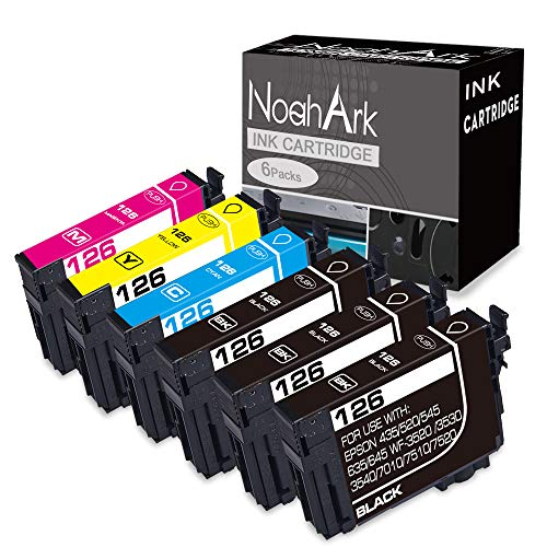 520 Black Inkjet - NoahArk 6 Pack T126 Remanufacture Ink Cartridge Replacement for Epson 126 T126 for Workforce 435 520 545 635 645 845 WF-3520 WF-3530 WF-3540 WF-7010 WF-7510 WF-7520 (3 Black 1 Cyan 1 Magenta 1 Yellow)