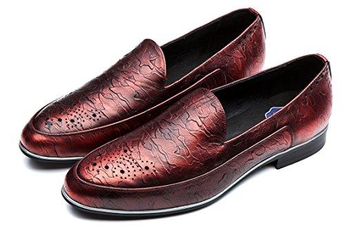 OPP Men's Brogue & Slip on,Low Heel & Plain Toe Dress Loafers Shoes(Wine 10 D(M) US) by OPP