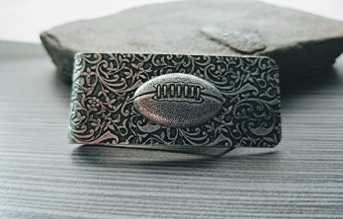 Handmade Oxidized Silver Embossed Brass Football Money Clip