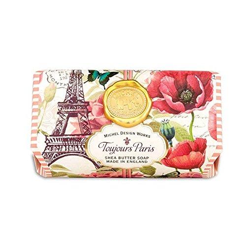 Michel Design Works Oversized Triple Milled Shea Butter Bath Soap Bar, Full Toujours Paris, (Bath Milled Triple Soap)