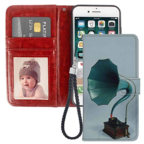 Wallet Case Compatible with Apple iPhone 6, iPhone 6S [4.7-Inch] Phonograph with Card - Phonograph Instruments