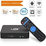 U2C Android 7.1 TV Box, [3GB RAM+32GB ROM] Amlogic S912 Octa Core Smart TV Box with 64 Bits H.265 Dual-Band WIFI 2.4GHz/5GHz,3D, 4K UHD, BT 4.1 Z Super Media Player