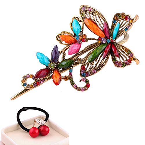 (eKoi - Korean Palace Tradition Collection - Retro Vintage Color Rhinestone Hairwear Pieces Stick Barrette Alligator Clip Snap Ornament Pin Accessory Band for Women Girl (Butterfly Duckbill Clip))