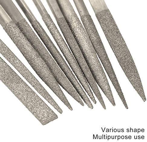 ankunlunbai 140mm Diamantbeschichtete Nadelfeile Set Handwerkzeug f/ür Keramik Glas Edelstein 140 * 100 * 10mm, Silber