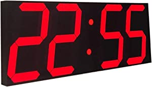 Goetland 17-3/5 inches Jumbo Wall Clock LED Digital Multi Functional Remote Control Countdown Timer Temperaturer, Red Digital on Black Background