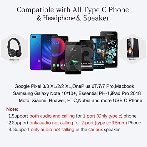 USB C to 3.5mm Audio Adapter (2Pack), Vcddom Upgraded Type C to 3.5mm Stereo Earphone Converter Headphone Adapter Compatible with Pixel 4 3 2 XL, Galaxy S20 S20+ S20 Ultra, Note 10 10+ (Black)