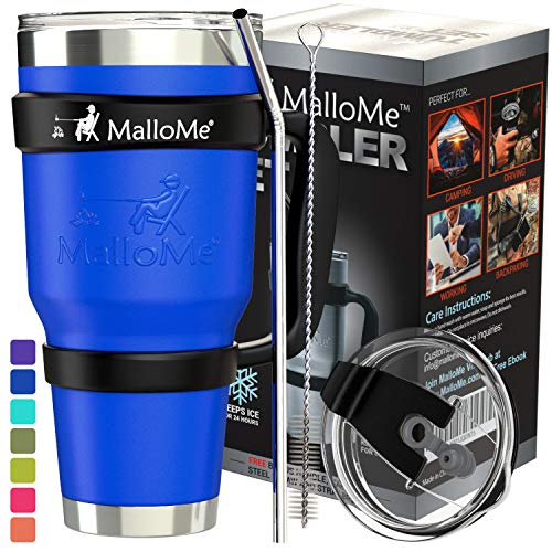 MalloMe Stainless Steel Vacuum Insulated 6-Piece Tumbler Set, Royal Blue 30 oz ()