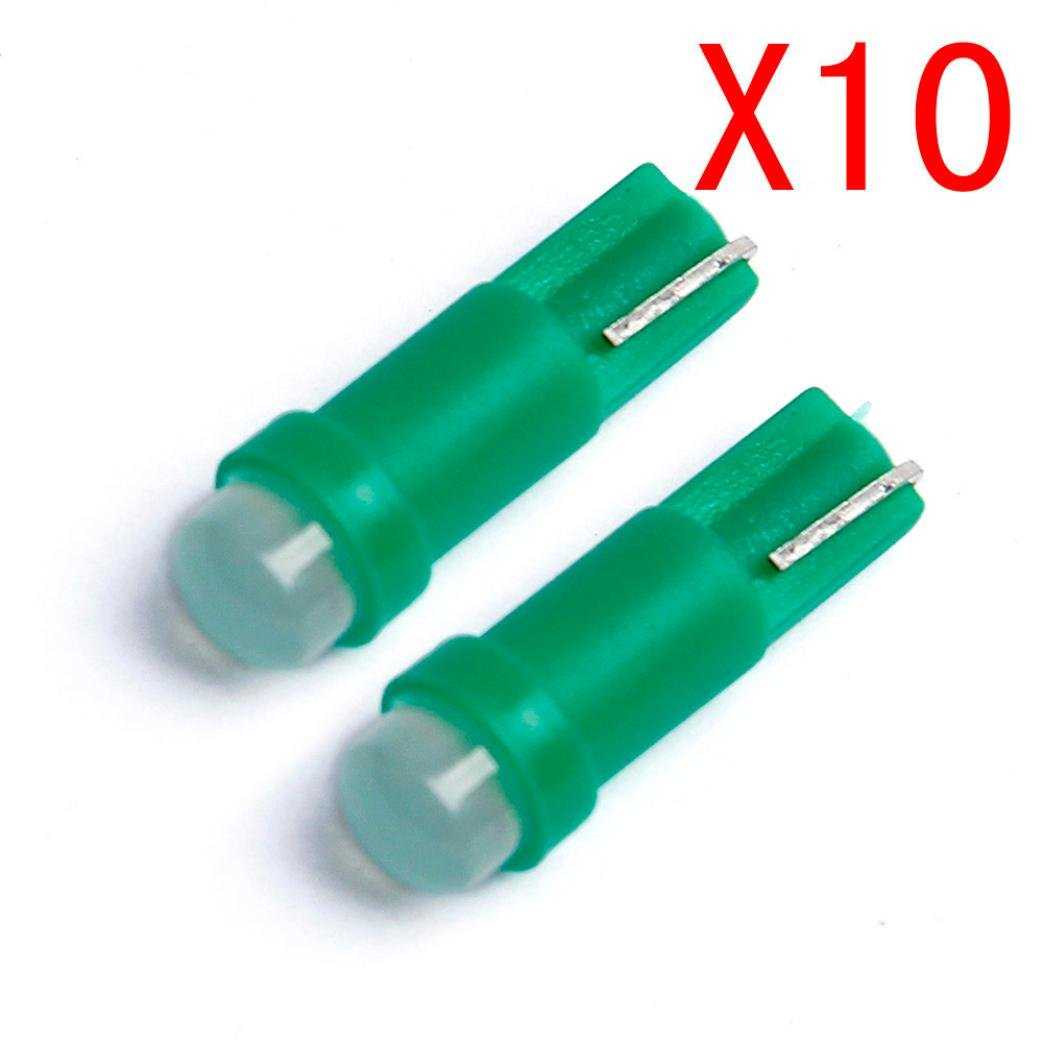 Glumes Super Bright T5 COB Fluorescence LED Lamps Car Door LED Reading Light Bulbs for Car Motor Interior Dome Parking Side Turn Signal Dashboard License Number Plate Light Bulbs Lamp (Green)