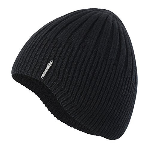 [Home Prefer Boys Toddler Knit Beanie Winter Warm Skull Hat Ears Covers Black] (Hats Boys)
