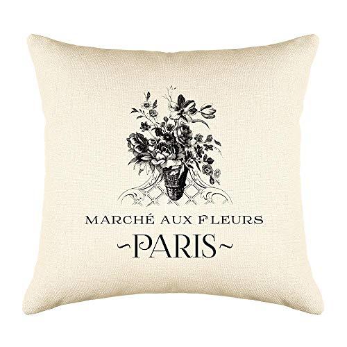 - Decorative Paris Throw Pillow Cushion Cover, Paris Flower Market, Classic Black & White Design, Decorative Cushion Covers 16x16, Heavy Weight Natural Linen Look, Paris Pillow Living Room Décor