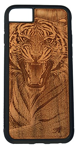 - Laser Engraved Cherry Wood Cell Phone Case Compatible with The iPhone 6, 6s, 7, and 8 - from Photo of Bengal Tiger