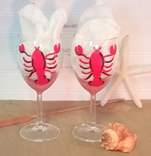 Hand Painted Nautical Lobster Wine Glasses. Free Personalization. Set of Two
