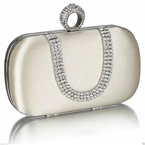 TrendStar Bolso de mano para mujeres: de boda, cristal, perlado, para fiesta - Ivoire 2