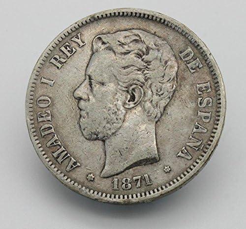 Desconocido Moneda de 5 Pesetas de Plata del Año 1871 Durante La Epoca de Amadeo I. Moneda Coleccionable. Moneda Antigua.: Amazon.es: Juguetes y juegos