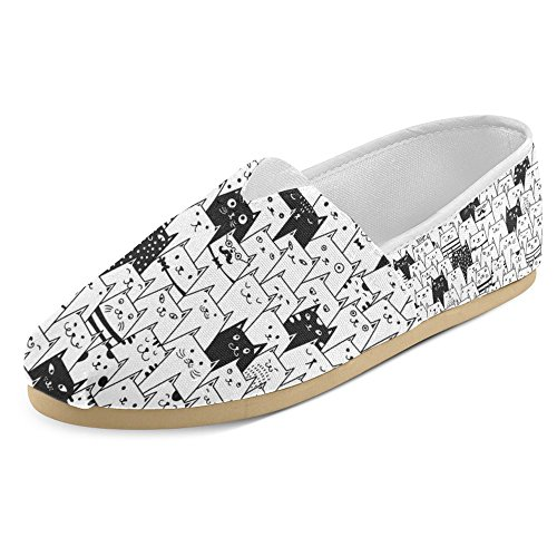 InterestPrint Women's Loafers Classic Casual Canvas Slip On Fashion Shoes Sneakers Mary Jane Flat Little Cute and Funny Pets Cat