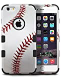 MYTURTLE Shockproof Hybrid Case Hard Silicone Shell High Impact Protection with [9H Flexible Nano Glass Screen Protector] Full Body Cover for iPhone 7 & iPhone 8, Ball Sports Baseball