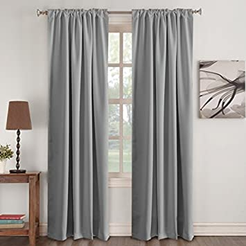 Blackout Grey Curtains Thermal Insulated For Living Room Noise Reducing Rod Pocket