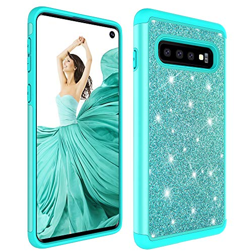 S10 Cases Bags - Galaxy S10 Plus Case,Samsung S10 Plus Glitter Case,Luxury Glitter Sparkle Bling Case,Hybrid PC Silicone Faux Leather Cover,Dual Layer Armor Protective Phone Case for Samsung Galaxy S10 Plus Mint