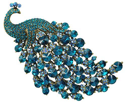 h Art Gorgeous Peacock Bird Blue Crystal Rhinestone Brooch Pins BZ243 ()