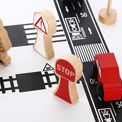 iPlay iLearn Road Tape Sets DIY Train Truck Track Stickers Pretend Play Toy Car Accessories Vehicles Christmas Stocking Stuffers Gift for 2 3 4 5 Year Olds Kids Boys Girls Toddlers Child
