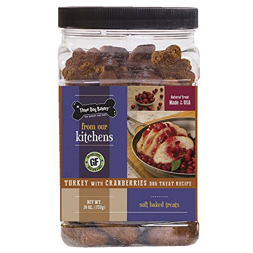 Three Dog Bakery Grain Free Turkey with Cranberries Soft Baked Meaty Wafers for Dogs, 26 oz