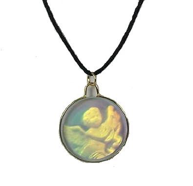 3d vintage glass hologram holographic gift angel necklace pendant 3d vintage glass hologram holographic gift angel necklace pendant jewellery on black cords mozeypictures Images